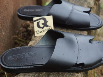 Octoxii Casual Leather Slippers Black