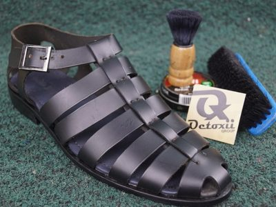 Octoxii Strips Leather Sandals Black